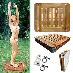 @tec Bodendusche Mobile Outdoor Gartendusche Camping-Dusche aus massivem Teak-Holz - Pool-Dusche, Sauna-Dusche, Aussendusche mit Bodenplatte, Jump-On-Shower - Tritt-Mechanismus