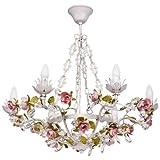 MW-Light Lustre Suspension à 6 Lampes Bougies de Style Floral en Métal Blanc décoré de Fleurs et Feuilles en Métal Coloré et