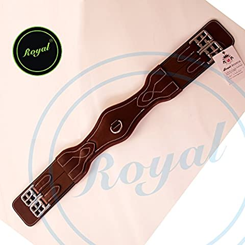 Royal Anatomic Joint Dressage Girth./ Brown Elastic with Grey & Maroon Lines.