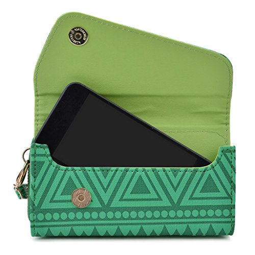Kroo Pochette/étui style tribal urbain pour Samsung Galaxy Fame White with Mint Blue vert