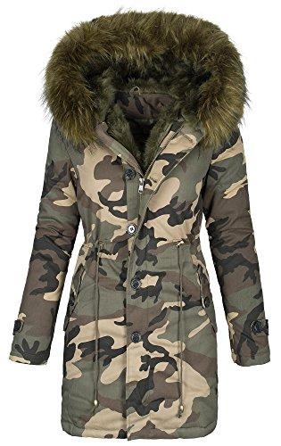 Warme Designer Camouflage Damen Winter Jacke Army Parka Mantel Camo Trend B440 Khaki