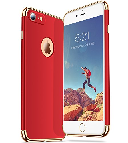 iPhone 7 Hülle, TORRAS Ultra Dünn Slim Anti-Fingerprint 3in1 Luxus Abnehmbare Schutzhülle Hülle mit Premium Electroplate Frame Stoßfest Case Cover für Apple iPhone 7 - Mint Rot