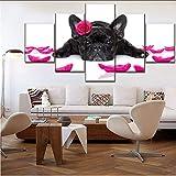 syssyj Sin Marco Lienzo Impreso Imagen Modular DecoraciónArte De La Pared 5 Panel Animal Bulldog Francés Y Pétalo Cartel Moderno Decoración del Hogar Ilustraciones