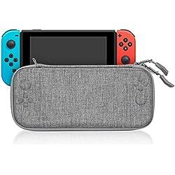 Keten Funda para Nintendo Switch, Estuche de Viaje Delgado y Duradero Portátil Espacio para 8 Cartuchos de Juego y una Bolsa de Accesorios para la Consola Nintendo Switch (Gris)