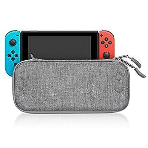 Keten Nintendo Switch Tasche, Tragbare Harthülle schlanke Trage-Reisehülle mit 8 Spielkassetten und Einem Zubehörbeutel für Nintendo Switch Konsole (grau)