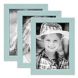 PHOTOLINI 3er Set Bilderrahmen Blau 10x15 cm Massivholz mit Acrylglasscheibe/Fotorahmen Hellblau/Wechselrahmen