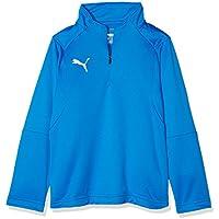 Puma Liga Entrenamiento 1/4Zip Top Jr Sudadera, Primavera/Verano, Infantil, Color Electric Blue Lemonade White, tamaño 116