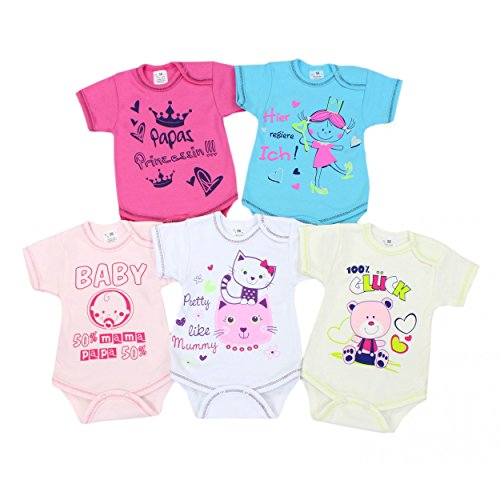 Baby Kurzarm-Body mit Aufdruck und Spruch Babybody Baumwolle Mädchen Bodys Jungen im 5er Set , Farbe: Mädchen, Größe: 62
