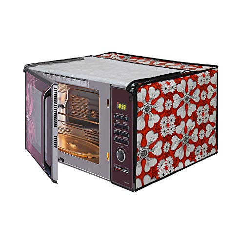 Glassiano Microwave Oven Cover for IFB 23 Litre Convection 23BC4, Black Floral Design