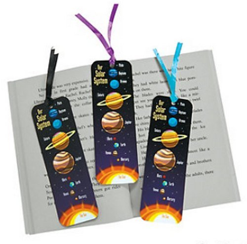 Pack of 12 - Space Solar System Bookmarks - Party Bag Fillers Stationery School Teacher Supplies