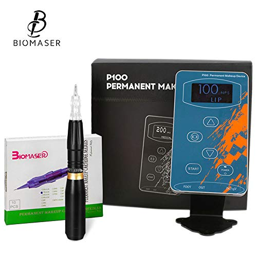 BIOMASER® Tattoo Maschine Kit Elektrische Professionelle Digitale Tattoo Maschine Augenbraue Lip Pen Machine Sets (Schwarz) -