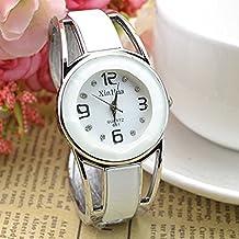 Pulsera reloj de cuarzo de diseño con esfera de diamante de imitación de acero inoxidable como