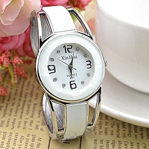 Armband Design Quarzuhr mit Strass Zifferblatt Edelstahl als Geschenk für Frauen Mädchen Studenten-Weiß