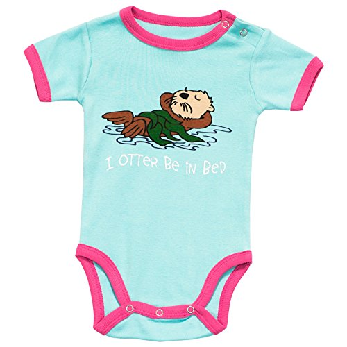 Lazy One Girls I Otter Be in Bed Babygrow Vest