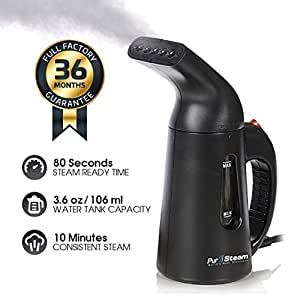 PurSteam® Elite 850 Watt Garment & Fabric Steamer - Compact Size with Full Size Power - For Home & Travel - Black