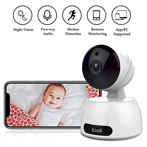 Baby Camera Monitor , ibell Baby Monitor with Camera FHD Quality and Video Stream Indoor CCTV Camera Wireless Automatic Night Vision Motion Detection Remote Control with Pan/Tilt/Zoom Two-Way Audio