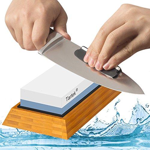 Premium Messerschärfstein - Dual 1000/6000 Grit Japanischer Whetstone - Bester Sharpener Waterstone Kit - Rutschfester Bambus Base & Angle Guide - Perfekt zum Schärfen & Polieren von Messern, Meißeln, Scheren
