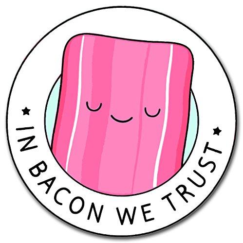 In Bacon We Trust Aufkleber für Skateboards, Snowboards, Scooter, BMX, Mountain Bikes, Laptops, iPhone, iPod, Gitarren etc. (rot)