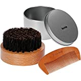 Rovtop Round Beard Brush and Comb, Boar Bristles Beard Brush Perfect for Short Medium Long Beard Comb Set Kit and for Men's Fashion and Health