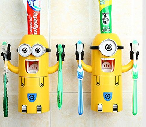 Dealcrox HIgh Quality Cartoon Minions press automatic toothpaste dispenser toothbrush holder cup triple bathroom home gifts for kids A051