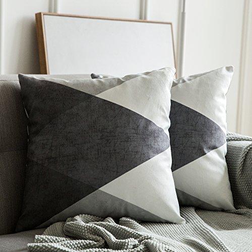 MIULEE 2er Set Kissenbezug Geometrische Zierkissenbezüge Wildlederoptik Sofa Bett Home Decorative Weich Dekorative Kissenhülle Sofakissen Schlafzimmer Grau und Weiß 45x45cm 18X18