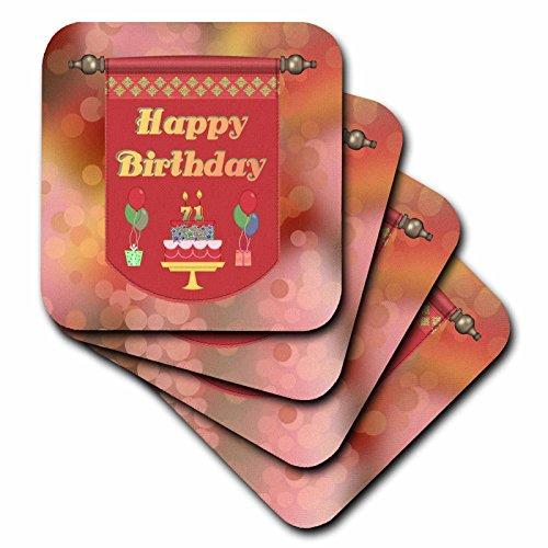 Beverly Turner Geburtstag Design–Happy 71ST Geburtstag Banner, Kuchen mit Geschenke und Luftballons–Untersetzer–Set von 4Keramik Tile Untersetzer