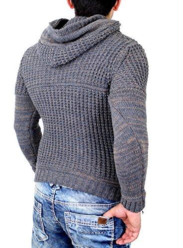 Tazzio Strickpullover Herren Grobstrick Winter Kapuzen Pullover TZ-440 Anthrazit