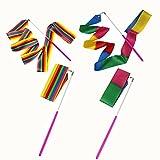 MUROAD 4 pezzi 2 metri di lunghezza Palestra Nastro per ginnastica ritmica,Danza nastri di Ginnastica Ritmica Streamer Baton Twirling Rod seta Attrezzi per Bambini