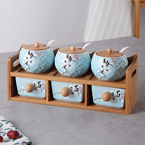 Doppelzimmer Küche Takeki Kako Seasoning Dosen sechs Stück Anzüge Gewürzkraut Flaschen Dosen Gewürze Würzen um den Sugar Bowl (Keramik) Blue Plum Bird's Nest