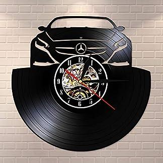 LED multicolor luz nocturna coche coche silencioso cuarzo disco de vinilo reloj de pared reloj iluminación led reloj hecho a mano reloj para hombres regalo único creativo crema y lámpara de mesa d