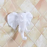 Spritumn Self Adhesive Wall Hook Decorative Elephant Head Wall Mounted Coat Rack Wall Door Hanger Bag Keys Sticky Holder Coat Storage Home Decor