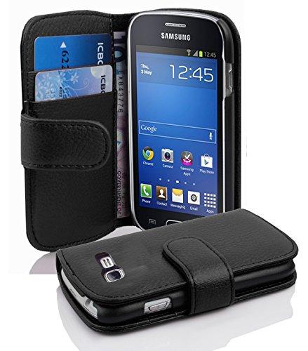 Cadorabo - Etui Housse pour Samsung Galaxy TREND LITE (S7390) - Coque Case Cover Bumper Portefeuille (avec fentes pour cartes) en NOIR DE JAIS
