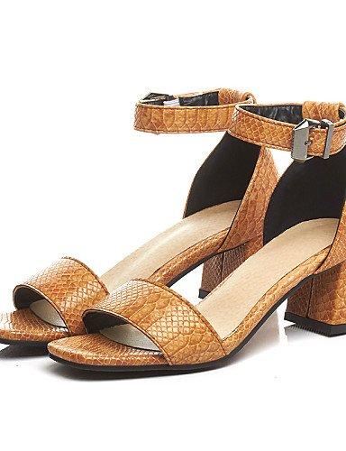 LFNLYX Chaussures Femme-Bureau & Travail / Habillé / Décontracté-Noir / Jaune / Gris-Gros Talon-Bout Ouvert / D'Orsay & Deux Pièces-Sandales-PU Black