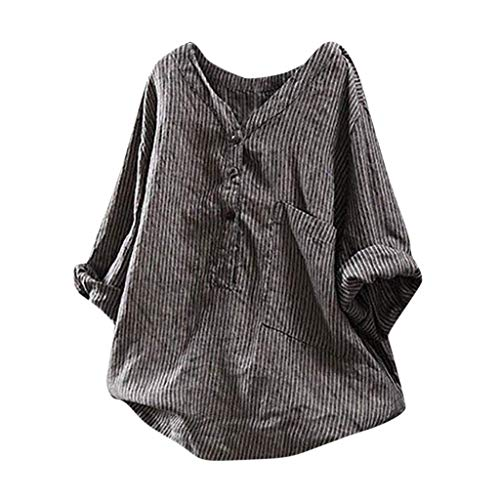 Vimoli Blusen Damen Beiläufiges Button Up Pullover gestreiftes Tops T-Shirt Plus Size Tunika Bluse(Schwarz,De-38/CN-XL)