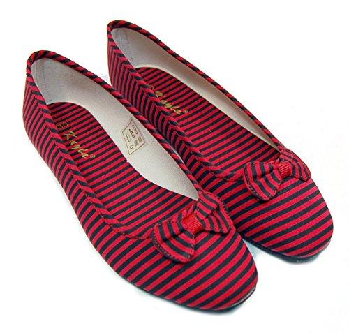 Red & Black STRIPED Streifen BOW Betty BALLERINAS Schleifen Rockabilly (Canvas-gürtel Schleife Tasche)
