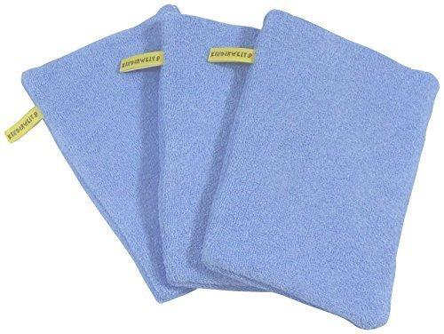 3 x Baby Kinder Waschhandschuh blau Waschlappen Badelappen