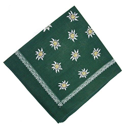 Trachtentuch Vierecktuch Edelweiß vers. Farben (grün)