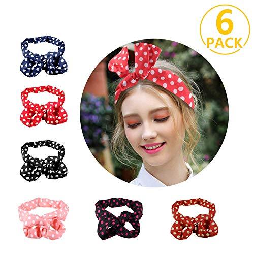 PAMIYO 6 Stück Haarband, POLKA DOTS Rockabilly Draht biegbar Bunny Ohr binden Bow Stirnband Haarschmuck Geschenk Haarnadeln Gift (mehrfarbig)