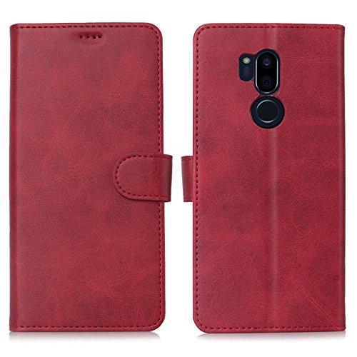 DDJ LG G7 Hülle, LG G7 ThinQ Hülle, Premium PU Leder Flip Case Schutzhülle mit Kartensteckplätzen für LG G7 ThinQ Smartphone (LG G7, rot)