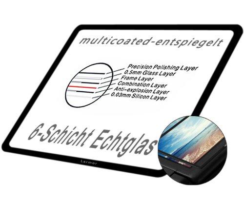 DolDer Sony Alpha A7II/A7RII/A7S II/A77II/A7III/A7RIII/A7SIII /7 M3LCD Displayschutz Glas - LCD-Echtglas-Protektor für A7II/A7RII/A7SII/A77II/A99II/A7III/A7RIII/A7SIII - 6 Schicht-Prinzip plus Schutzrahmen (made by Larmor)
