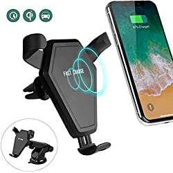 Qi Wireless Car Charger Mount, Fast Wireless Car Charger Gravity Air Vent Mount Phone Stand Holder for Samsung Galaxy S9/S9 Plus/S8/S8 Plus/S7/S7 Edge/S6 Edge/Note 8/Note 5 Standard Charger for iPhone 8/8 Plus/X