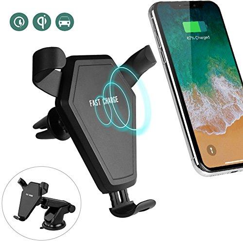 Wireless Charger Auto Qi, XHXelc. Schnelles kabelloses Ladegerät mit zwei Halterungen[Car Lüftungshalter][Saugnapf] für Samsung Galaxy S9 /Note 8/S8/S8/S8 Plus/S7/S7 Edge/S6/S6 Edge/Note 5,iPhone 8/ 8 Plus/X…