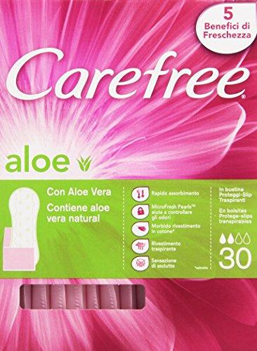 Carefree Aloe - Proteggi-Slip Respiranti - Contiene Aloe Vera Natural,  5 Benefici Di Freschezza  - 30 Pezzi