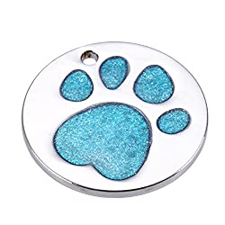 Rrimin Pet Cat Dog ID Tags Customized Personalized Round Feet Shaped Alloy Dog Tag (Blue)