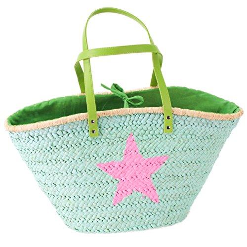 Strandtasche grün mit Stern pink (54 x 28 x 30 cm)