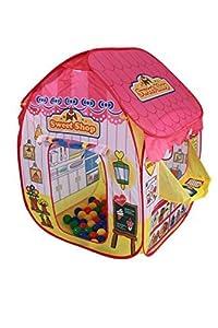 International Buying Services Pop Up Sweet Shop Playtent + 100 Bolas de Colores Brillantes - Tienda de campaña para niños - Tienda de campaña Pop Up Play - hermosamente diseñado para niños Juguete