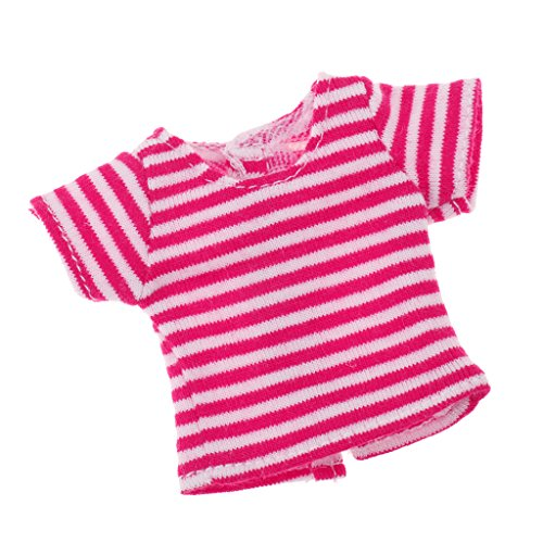 Phenovo 7 Colors Fashion Elastic Striped Shirt for 12inch Blythe Momoko Licca Dolls Casual Wear Clothes Accessory - Rosy, as described