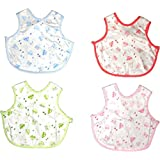 BornBabyKids Cotton Apron Style Baby Bibs(White Bordered by Pink, Green, Blue and Orange) - Pack of 4