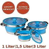 3er Set faltbare Leichtgewichtstöpfe 1Liter, 1,5 Liter, 3 Liter - Jeder Camping Kochtopf aus Metall und Silikon - MINIMALES Packmaß + MINIMALES Gewicht - spülmaschinenfest