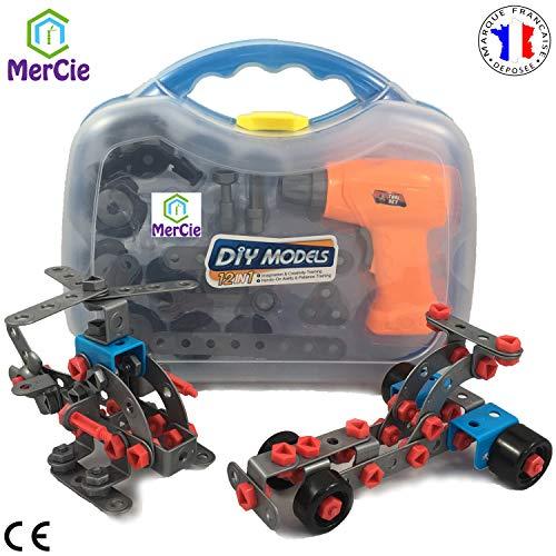 Jouet de construction 12 en 1| 282 pcs pour construire voitures, avion, motos et camion. Avec outils...